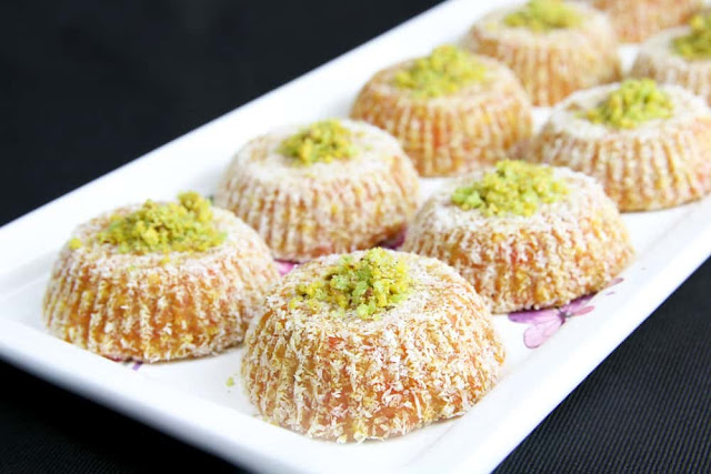 Turkish Carrot Delight  with Semolina in a platter