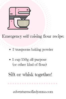 Emergency self-raising flour recipe for substitue flours.