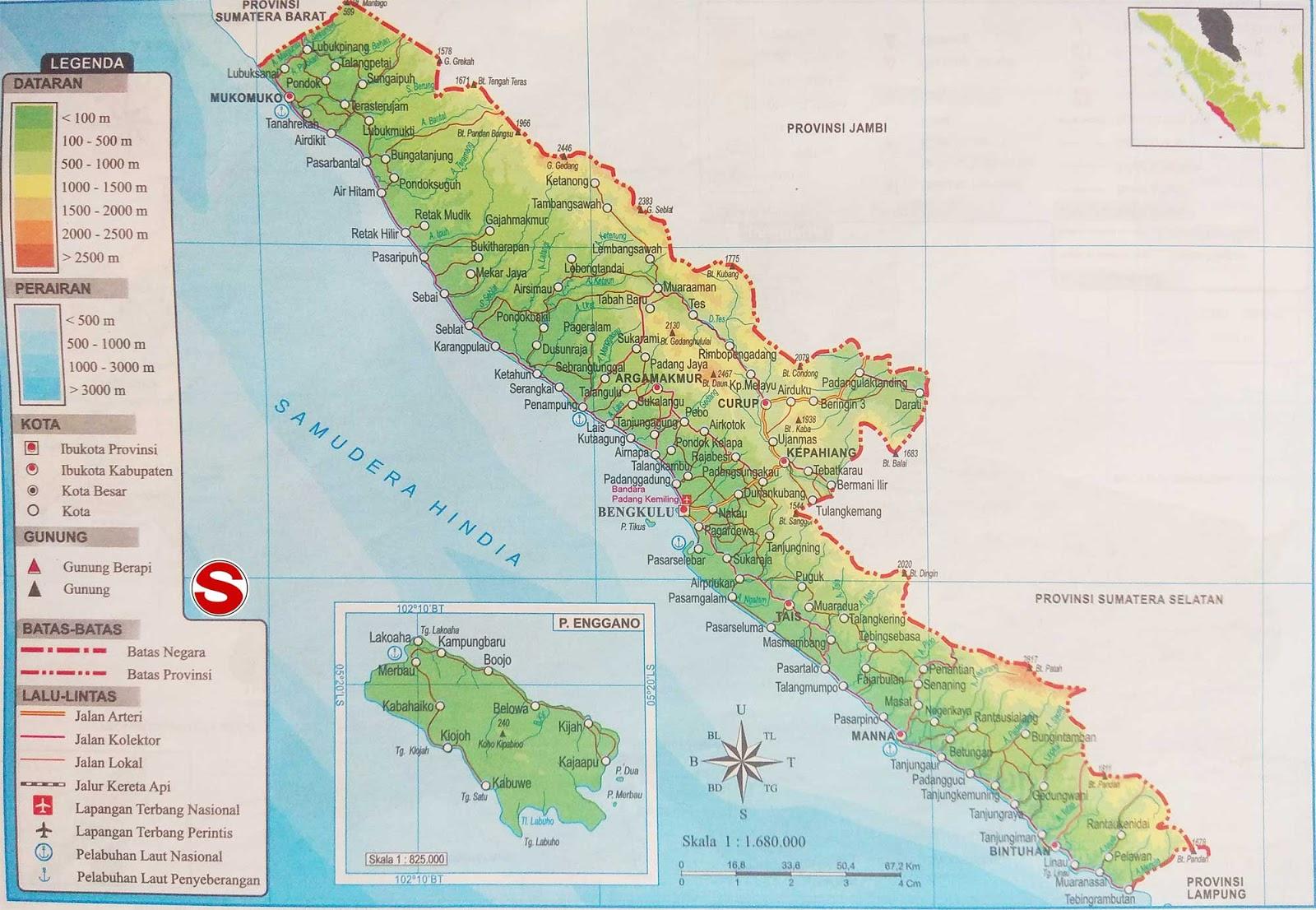 Gambar Peta Atlas Provinsi Bengkulu Lengkap