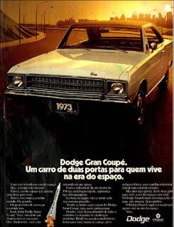 propaganda Dodge Dart Coupê com duas portas - 1973, Dodge Dart 1973, chrysler anos 70, carro antigo chrysler, anos 70, década de 70, propaganda anos 70, Oswaldo Hernandez,