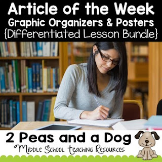 Help your students purposely engage with non-fiction texts using this differentiated article of the week four lesson bundle. This no-prep, print and go resource can be used in any content area or English Language Arts classroom to help students gain background knowledge, practice their reading, writing and analysis skills as well as keep classroom engagement high. Each lesson is differentiated by difficulty level and assignment type: short answer, graphic organizer, essay response, and peer selected. Click on the image above to get started using or change up your current article of the week routine. ($)