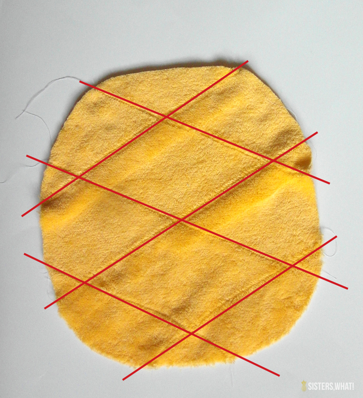 sewing lines on pineapple pillow