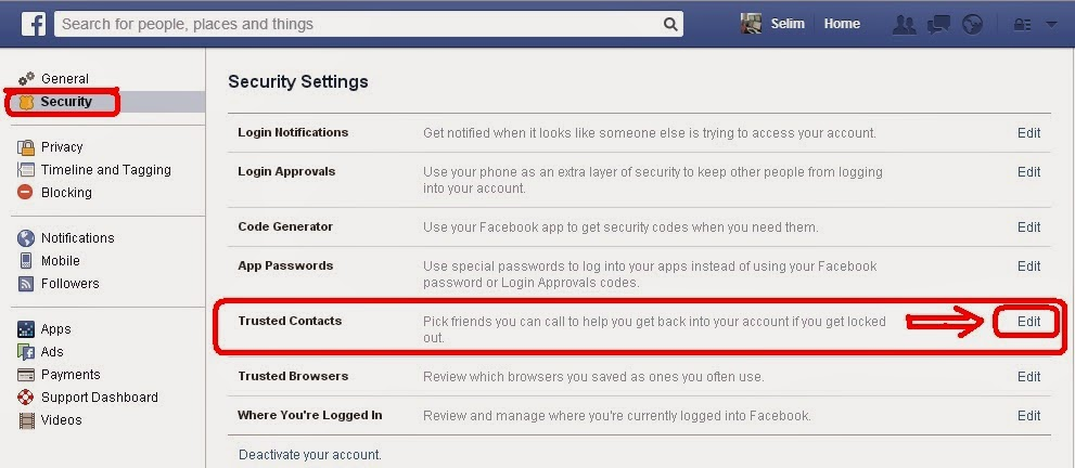 Social Media Help: Facebook account to your trusted contacts