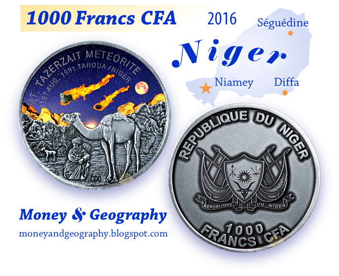 Niger meteorite coin — 1000 Francs CFA, year 2016