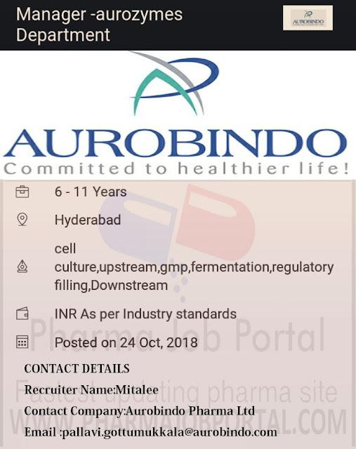 AUROBINDO PHARMA LTD Urgently required - Apply Now