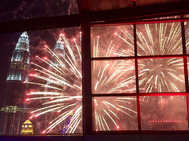 Petronas Twin Towers at night, with fireworks, Kuala Lumpur, Malaysia