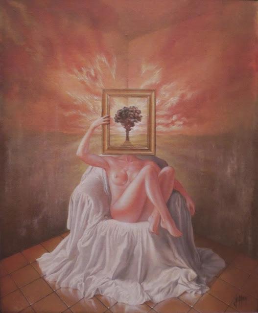 Enrique Nieto arte surrealista mujer desnudo sentada