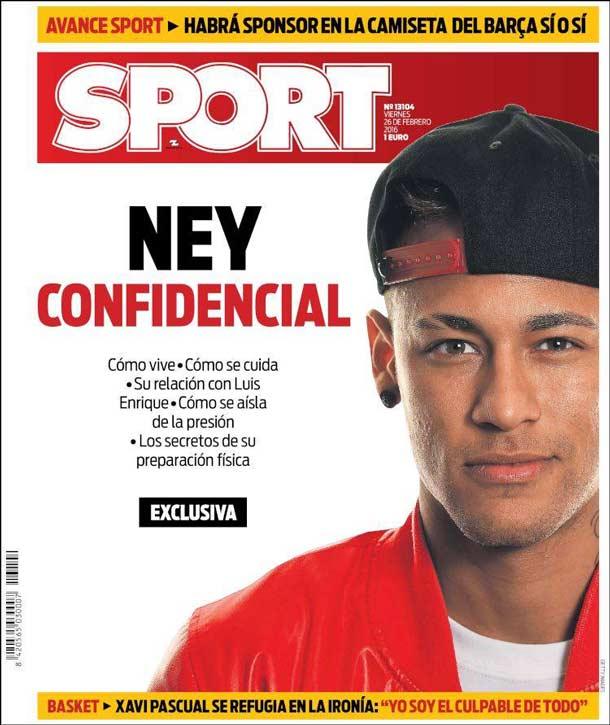 Portada del periódico Sport, viernes 26 de febrero de 2016