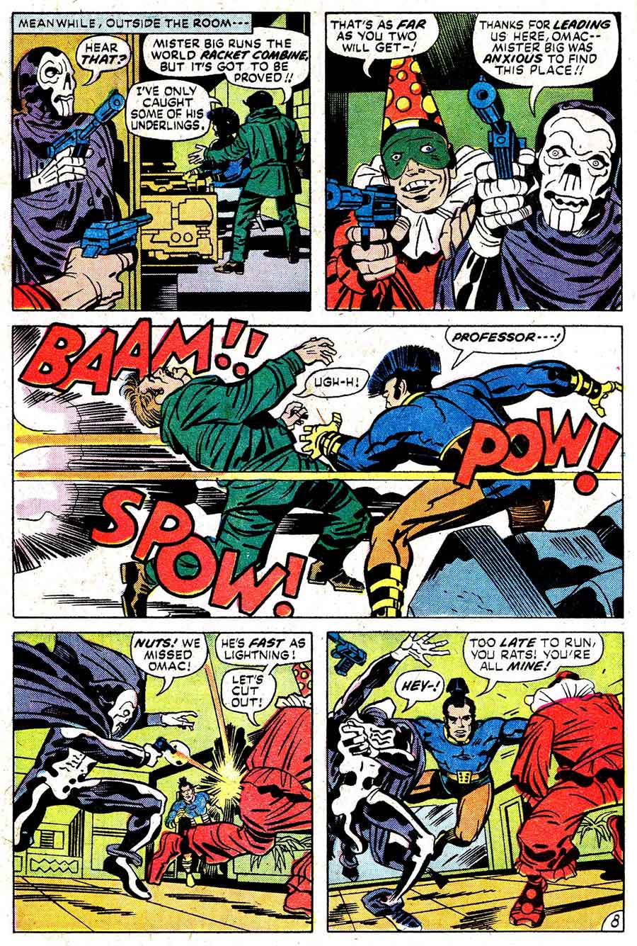 Omac v1 #2 dc bronze age comic book page art by Jack Kirby