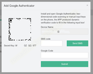 Tampilan form pop-up | Tutorial - Cara mengaktifkan Google Authenticator di Hashnest