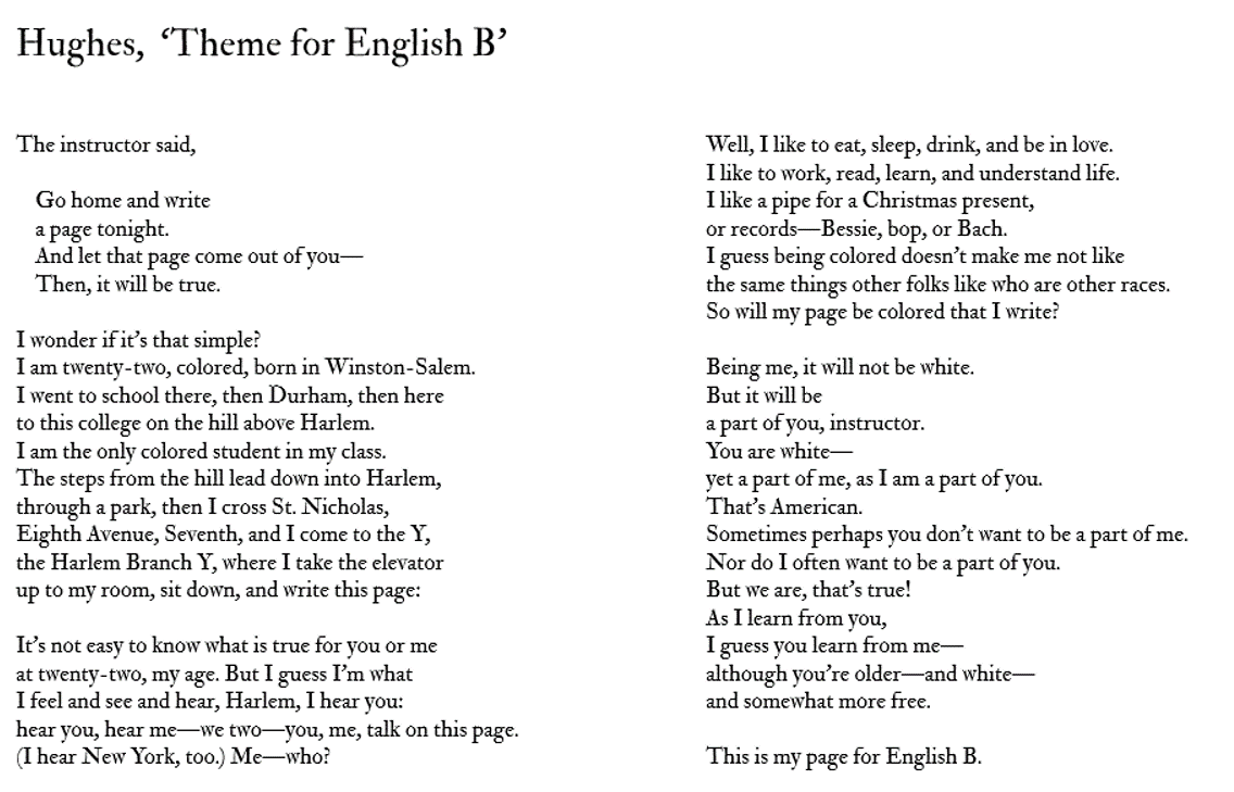 langston hughes a theme for english Vintage hughes by langston hughes - theme for english b summary and analysis.