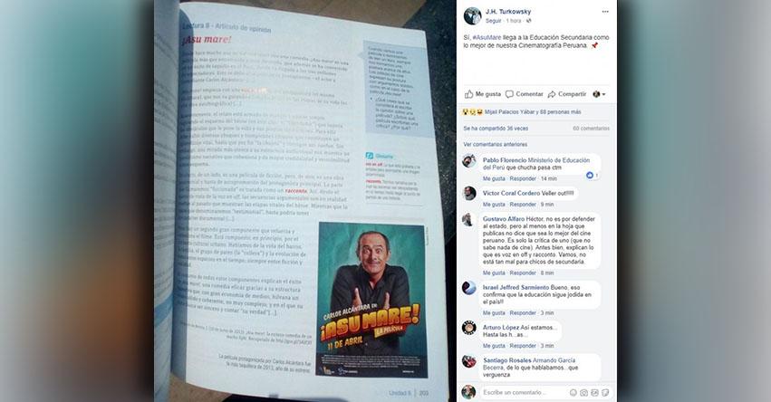 Polémica por libro del MINEDU que reseña la película «¡Asu Mare!»