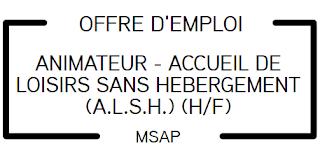 Offre d'emploi - ANIMATEUR - ACCUEIL DE LOISIRS SANS HEBERGEMENT (A.L.S.H.) (H/F)