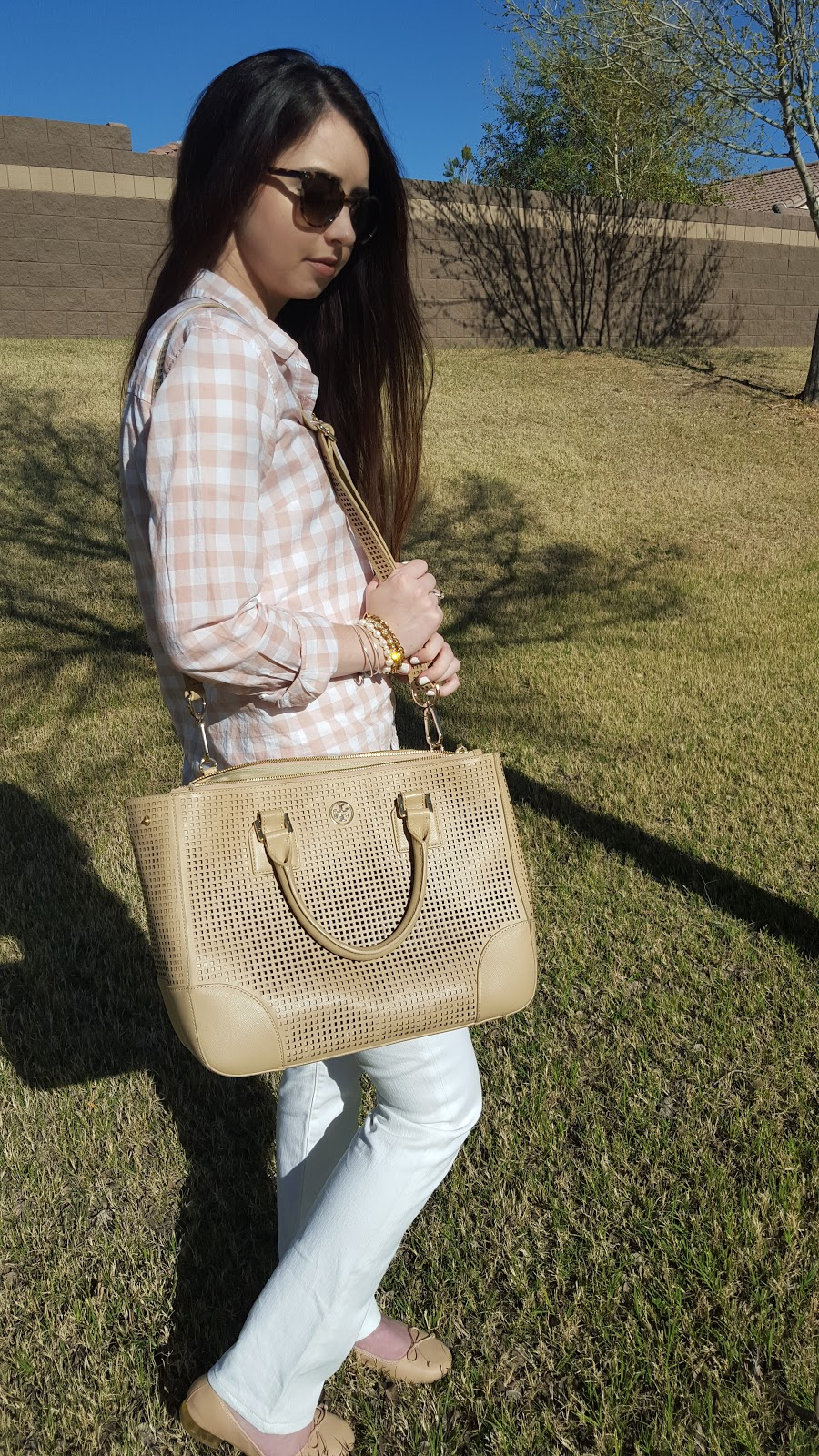 Tory Burch Robinson tote with gingham and white jeans