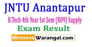 JNTU Anantapur B.Tech 4th Year 1st Sem (R09) Supply Nov 2016 Exam Results