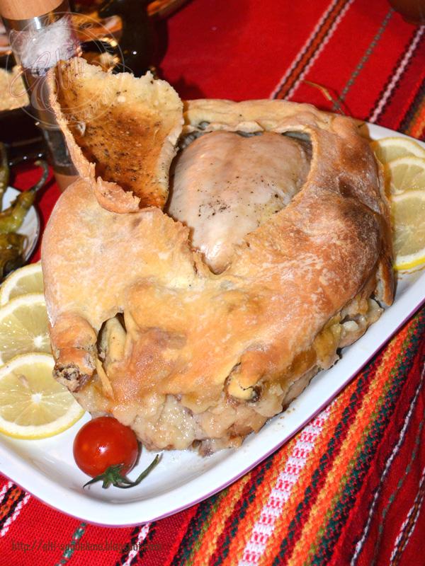 Пиле в кора от хлебно тесто