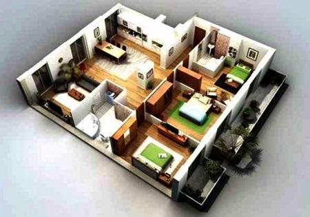 contoh denah rumah minimalis 3d dengan 3 kamar tidur | rumahku