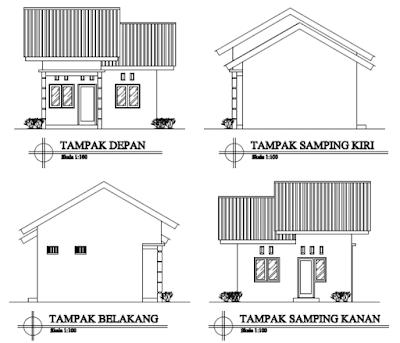 model rumah minimalis tampak depan samping belakang