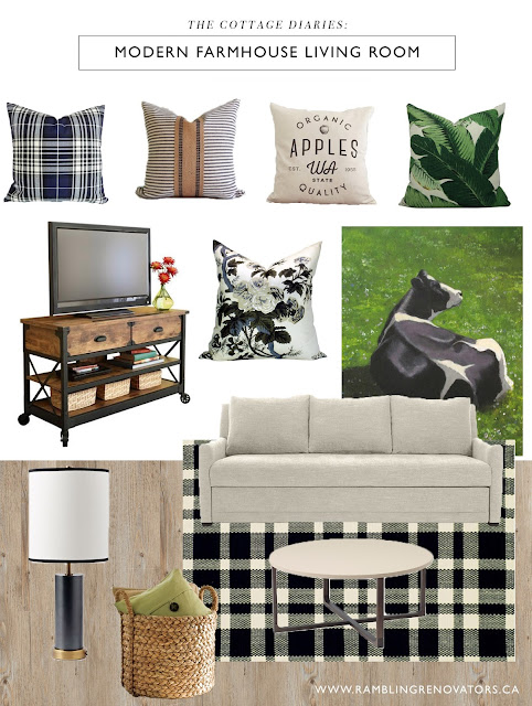 modern farmhouse living room | plaid ticking stripe | black white green | Ramblingrenovators.ca