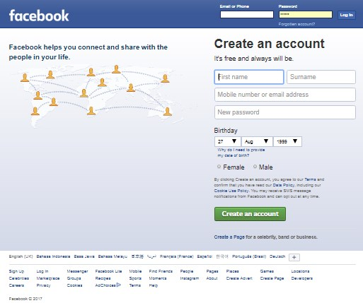 create new account sign in facebook