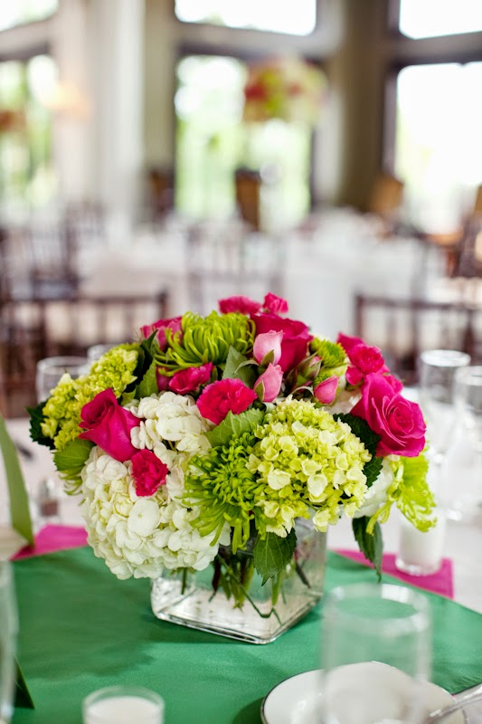 Pink and Green Wedding Centerpieces