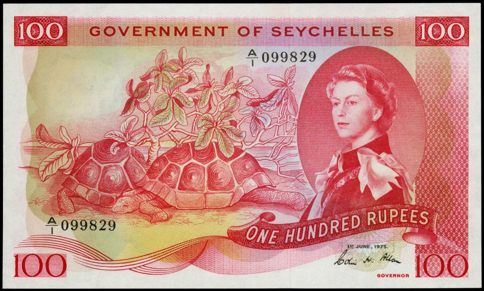 Seychelles banknotes 100 Rupees note 1975 Queen Elizabeth II