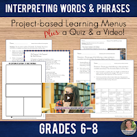 Help your Middle School students practice what they know about R.CCR.4:  Interpret words and phrases as they are used in a text, including determining technical, connotative, and figurative meanings, and analyze how specific word choices shape meaning or tone. #poetrylessons #projectbasedlearning