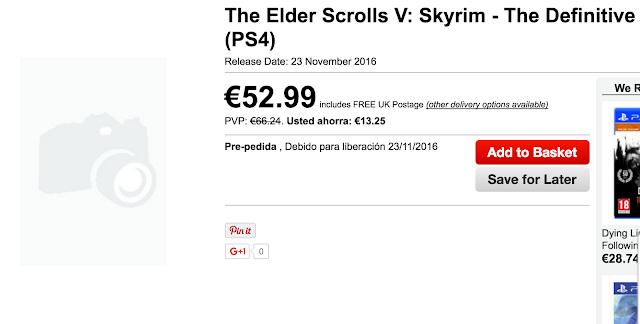 Skyrim Edición Definitiva para PS4 y ONE saldría el 23 de noviembre 1