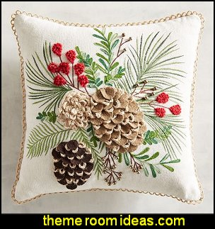 Textured Pinecone & Branch Mini Pillow   Christmas decorating ideas - Christmas decor - Christmas decorations - Christmas kitchen decor - santa belly pillows - Santa Suit Duvet covers - Christmas bedding - Christmas pillows - Christmas  bedroom decor  - winter decorating ideas - winter wonderland decorating - Christmas Stockings Holiday decor Santa Claus - decorating for Christmas - 3d Christmas cards - xmas tree decor