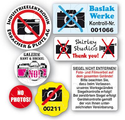Fotoverbotaufkleber mit Nummer und Logo