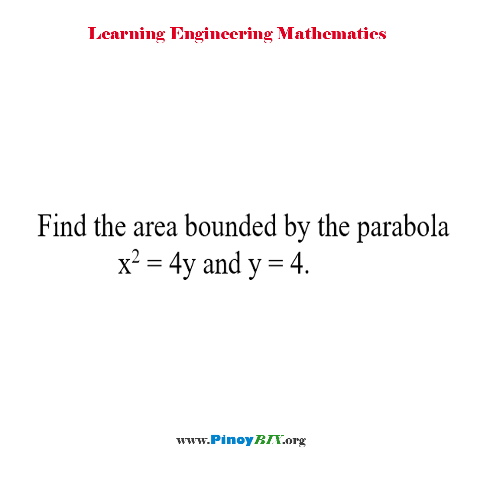 Find the area bounded by the parabola x^2 = 4y and y = 4.