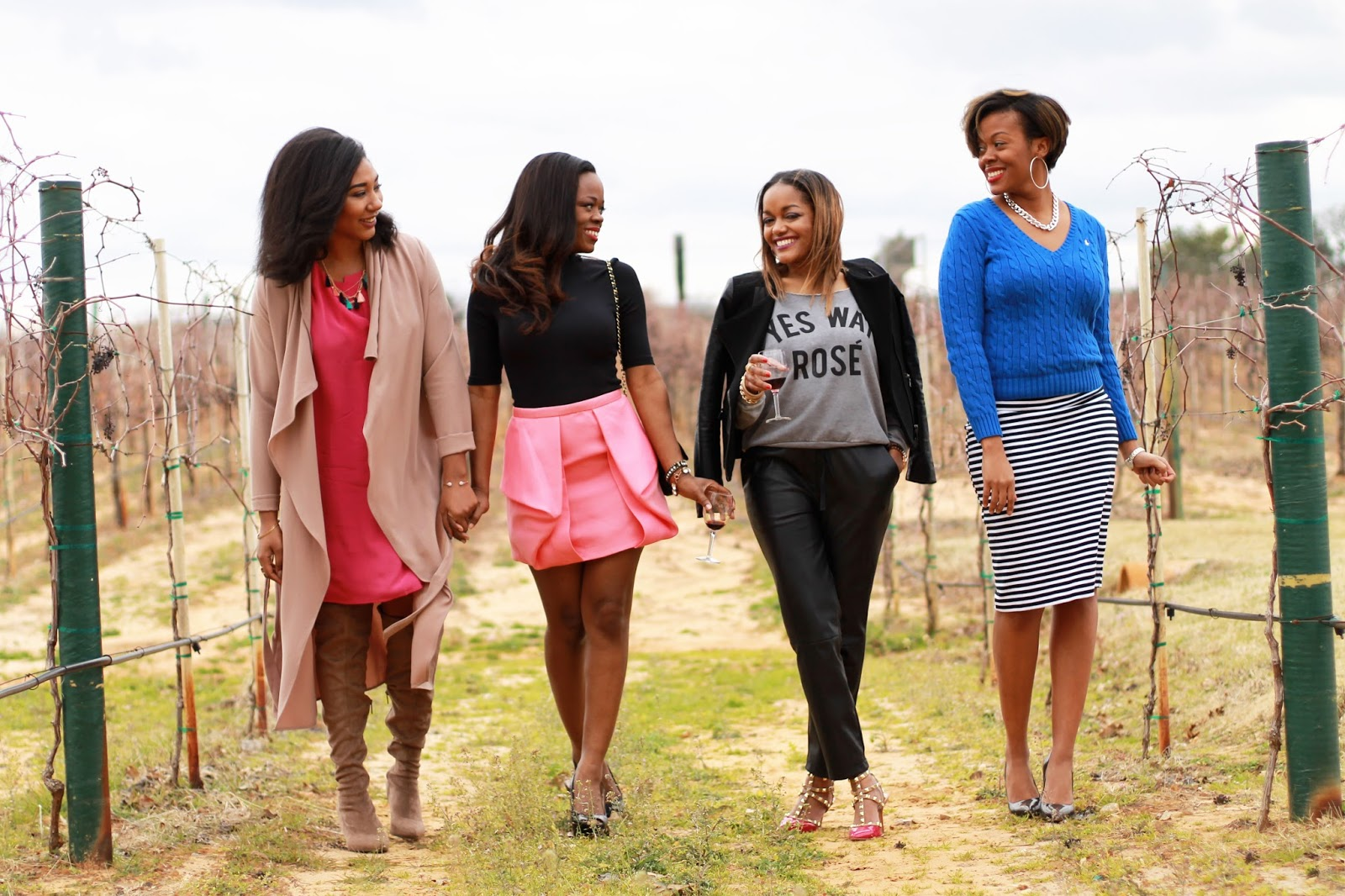 "squad goals- target sweatshirt- off shoulder sweatshirt- yes way rose'-leather jogger pants for women- ann taylor leather pants- bcbgeneration shoes- valentino rockstud look for less- zara jacket- thredUp- ""Galentines day""- brown girl bloggers- fashion blogger- dallas blogger"