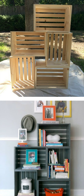 estantería hecha con cajonesde madera recicladas