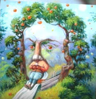 apple tree man sitting face illusion to test personality