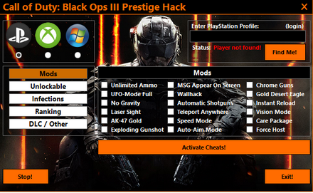 Crazy bo3 USB Mod menu Free, No survey, No RGH/Jtag ps3,ps4,xbox360, xbox one
