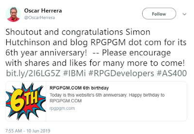 Shout out and contratulations to Simon Hutchinson and blog RPGPGM dot com for its 6th year anniversary! -- Please encourage with shares and likes for may more to come!