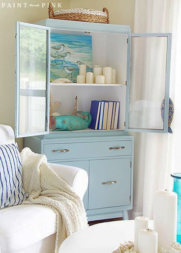 Glass Display Cabinet Coastal Living Room Decor