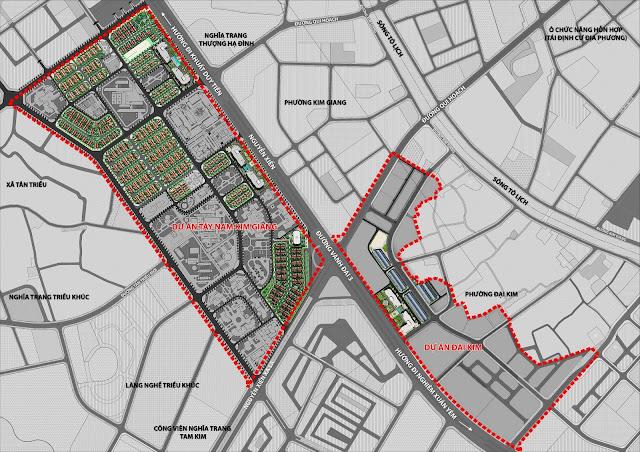 Bản đồ quy hoạch dự án Athena Fulland Đại Kim và Tây Nam Kim Giang