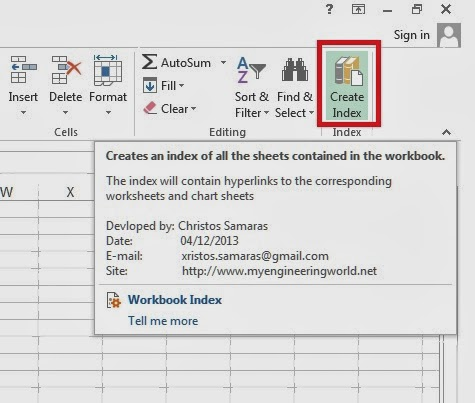 Workbook Index Add-In - Ribbon Button