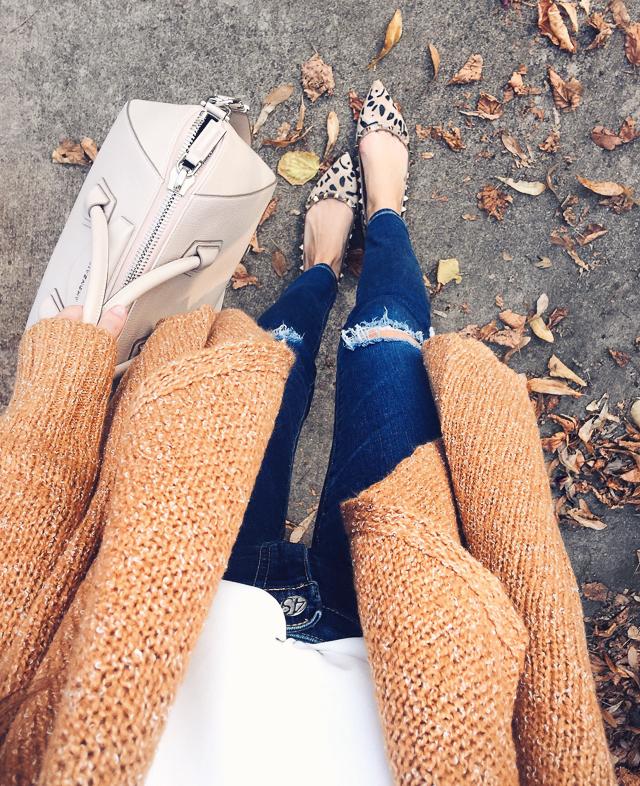 leopard flats, cozy cardigan, AG jeans