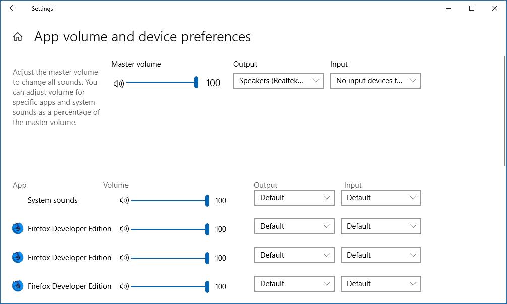 Mentatur volume, output, dan input suara pada setiap aplikasi dan perangkat