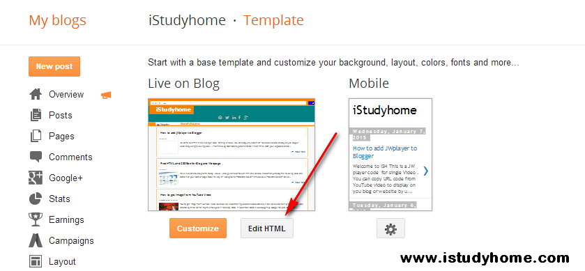 Embed JWplayer to Blogger - iStudyhome com