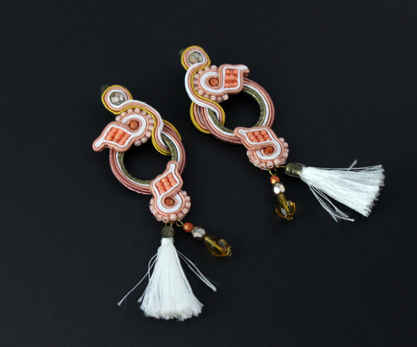 soutache earrings, clips, handmade jewelry, jewellery, bohemian, boho-chic, style, tassels, beads, leaves shapes, pastels, warm colours,