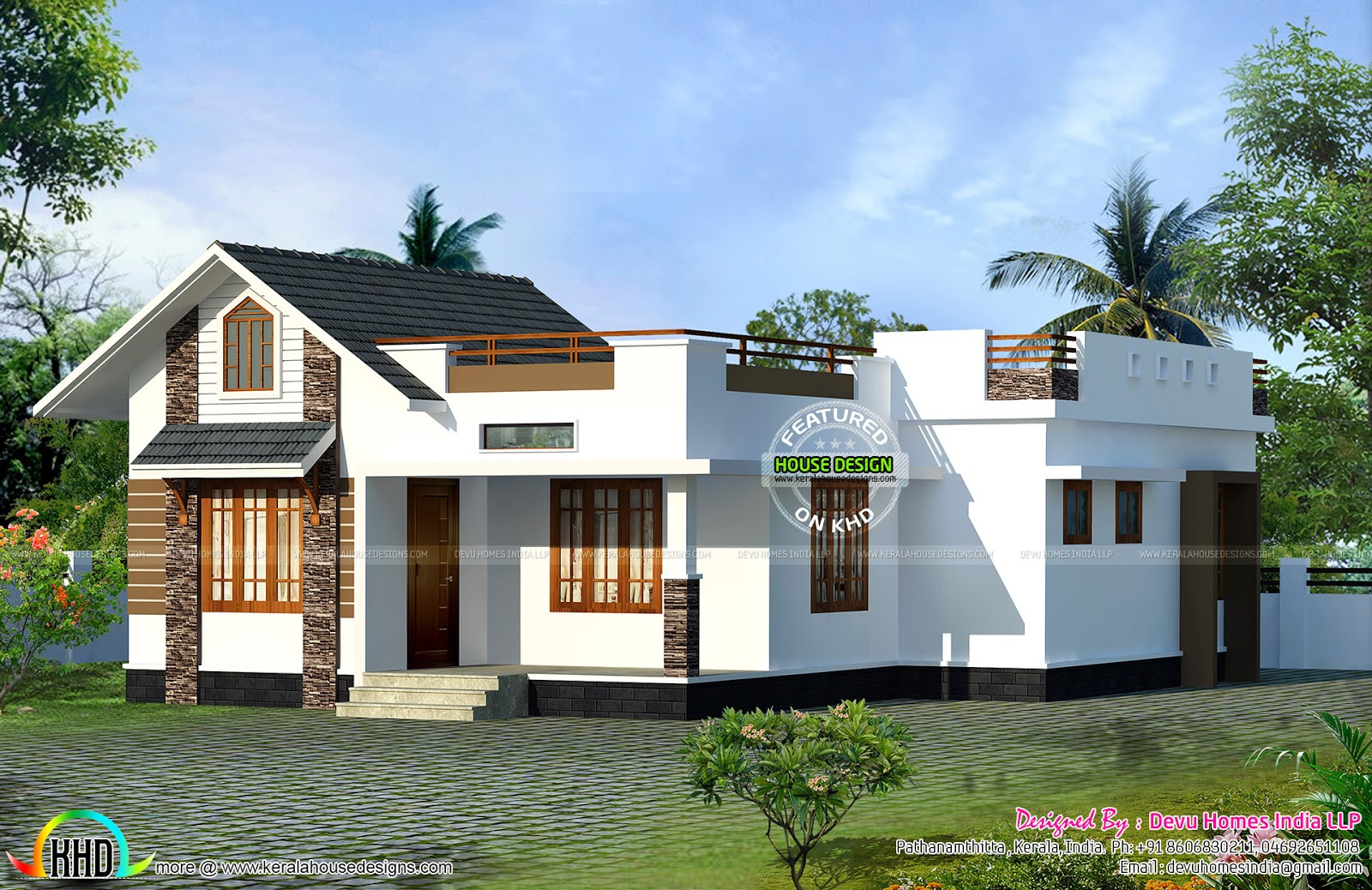 North facing vastu home single floor kerala home design for Single home design