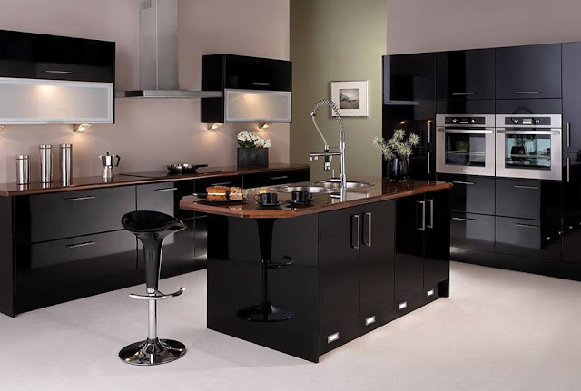 Kitchen Mesmerizing Black Kitchen Ideas With Beautiful Colors Wall Mount Black Kitchen Cabinets