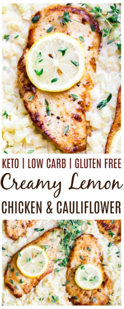 SKILLET CREAMY LEMON CHICKEN WITH CAULIFLOWER