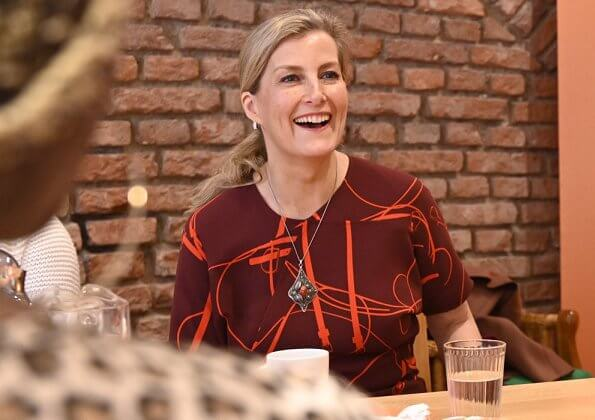 The Countess of Wessex wore a new print midi dress by Victoria Beckham at GBDE event for refugee community
