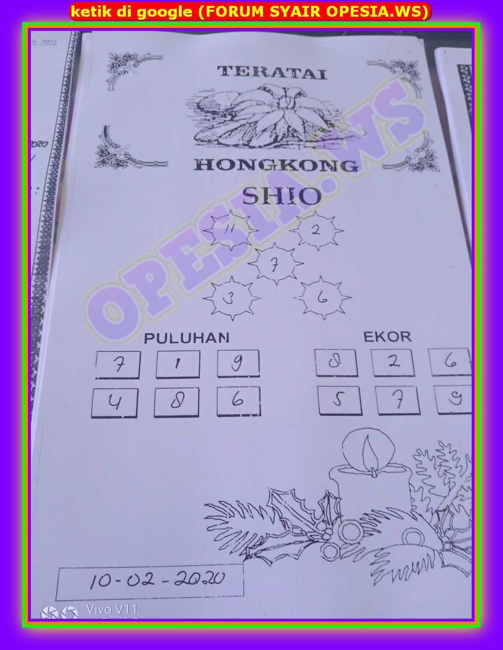 Kode syair Hongkong Senin 10 Februari 2020 44