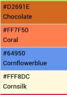 Daftar Kode Warna HTML lengkap untuk template