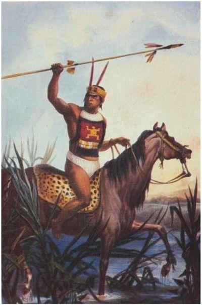 Guerrero charrúa a caballo, con lanza en mano.